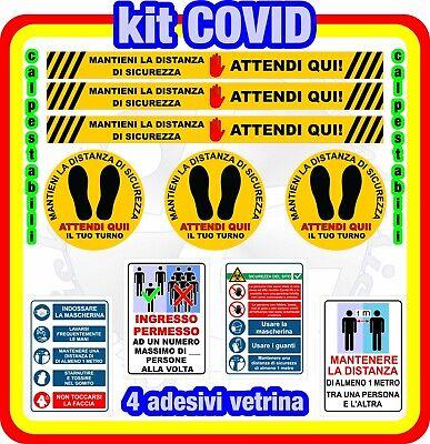 Adesivi Calpestabili distanza di sicurezza negozio -Attendi Qui- KitCovid 10 pz