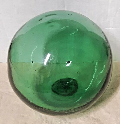 Vintage Japanese Green Glass Fishing Float Buoy Ball 25 Circumference