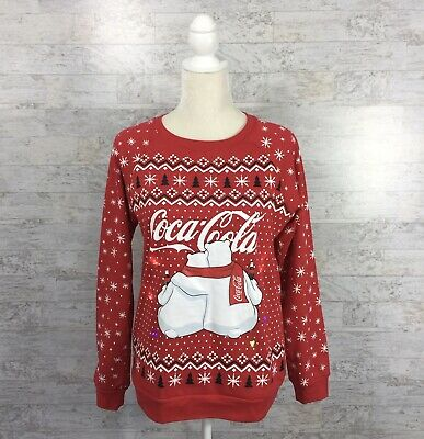 COCA COLA Womens Size Small Sweatshirt Polar Bears Lights Red Christmas Shirt