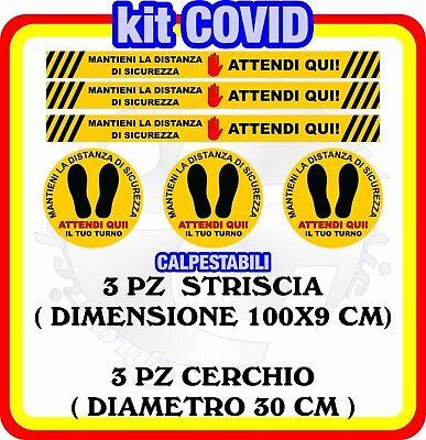 Adesivi Calpestabili distanza di sicurezza negozio -Attendi Qui- Kit Covid1 6 PZ