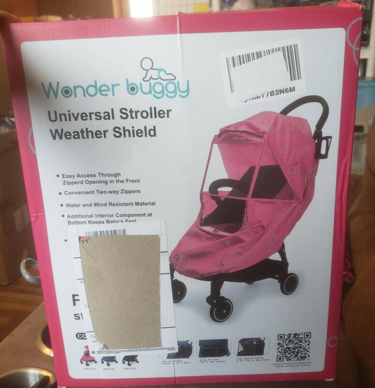 New! Wonder Buggy Universal Stroller Weather Shield! Pink!