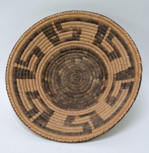 "Antique Pima - Papago Winnowing Basket with Finger Dance C. 1920 3"" x 14"""