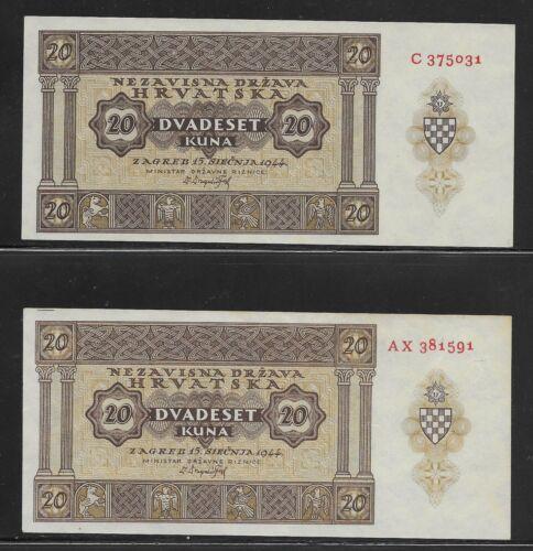 CROATIA 20 Kuna 1944  - 2 notes, both variatons UNC