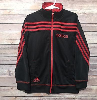 Adidas Boys Youth 7 Zip Up Track Jacket Sweatshirt 3 Stripe Back To School Black