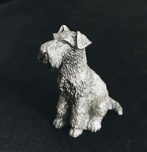 Fine Pewter Silver Schnauzer Dog Puppy Highly Detailed Figurine Statue