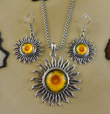 SUNFLOWER Large snap button silver Necklace/earrings set gifts women (Sunflower Necklace Earrings)
