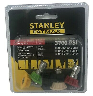 Stanley Fatmax Pressure Washer Tips Set 5 Nozzles 3700 Psi Quick Connect Fitting