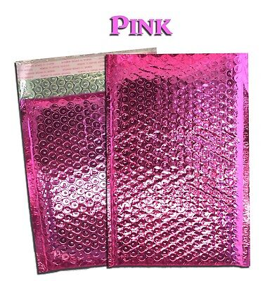 10 - 100 Lot -6x10 4x8 Pink Metallic Bubbly Bubble Mailer Business Envelopes