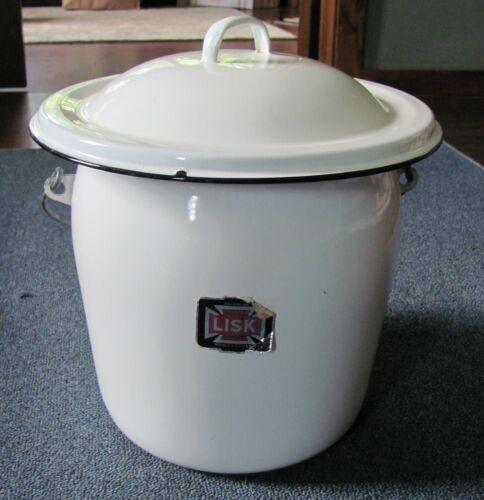 Vintage Lisk LARGE  Porcelain Enamel Ware Wood Handled Pot w/Lid Bean BUFFALO NY