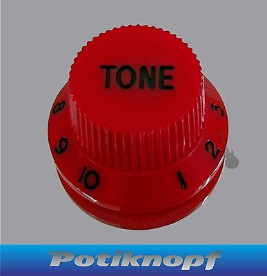 Hutform - Tone Knob - rot mit schwarz - HKT-RD-BK - Potiknopf - Knopf