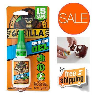 Gorilla Super Glue Gel Anti Clog Cap Quick Dry For Plastic Wood Metal Ceramic