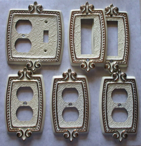 Vintage Amerock Carriage House Bonaventure Regency White and Gold Lot of 6