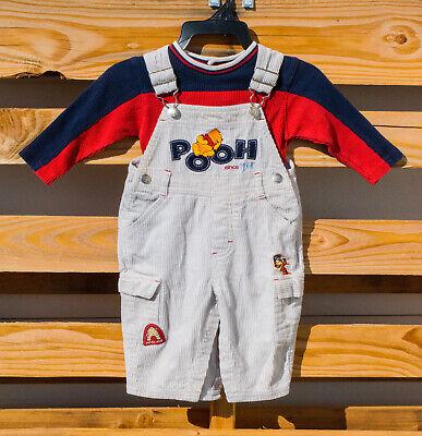 Disney Winnie The Pooh Corduroy Bib Overalls Thermal Bodysuit Set Sz 12 Months