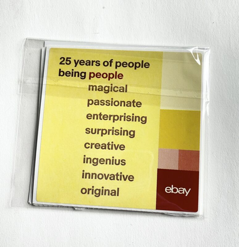 """1 Package of eBay 25th Anniversary Stickers Large 4"""" x 4"""""""