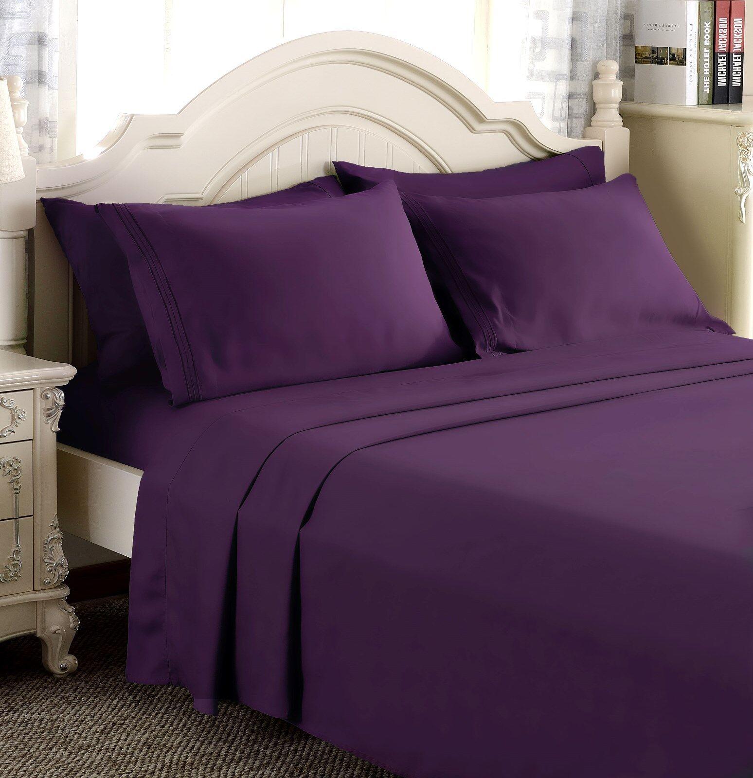 Egyptian Comfort 1800 Count Ultimate 4 Piece Bed Sheet Set Deep Pocket Sheets