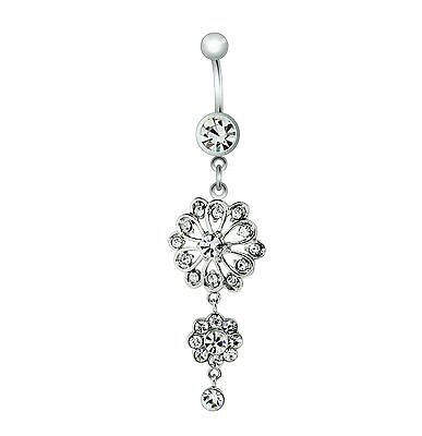 Steel Belly Button Dangle Ring with Flower Navel Ring Body Jewelry 1pc