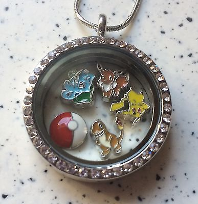 Pokemon Floating Locket With Charms And Necklace - Floating Locket Necklace And Floating Charms