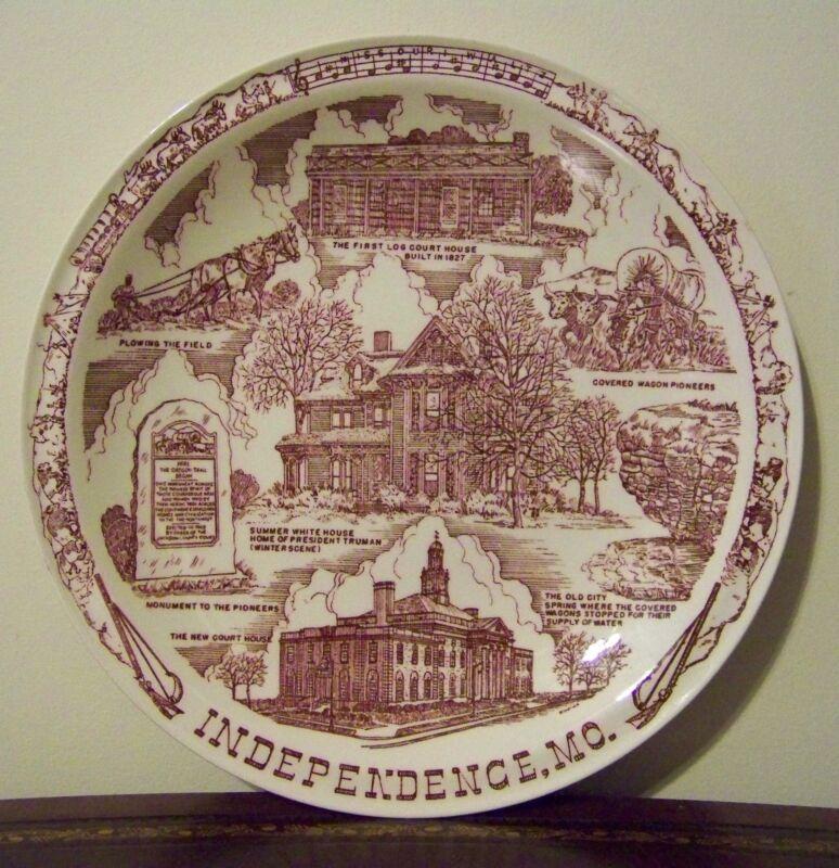 Independence Missouri Souvenir Plate VTG Vernon Kilns Truman Pioneers Tyler