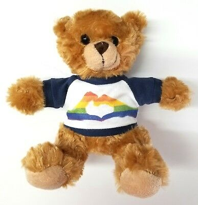 (rainbow love white and navy uniformed 6 inches tall teddy bear)
