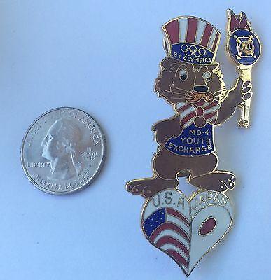 1984 Olympics - Lions Club  Youth Exchange Pin ~ USA Japan ~ Big Los Angeles Pin