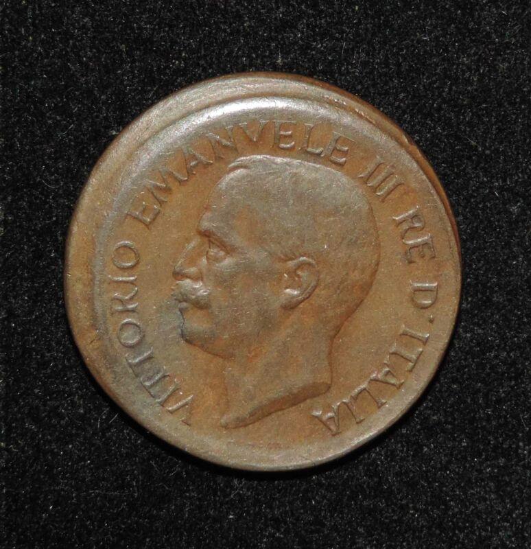 1921 Italy Victor Emanuel III 10 Centesimi Broadstrike Broadstruck Mint Error