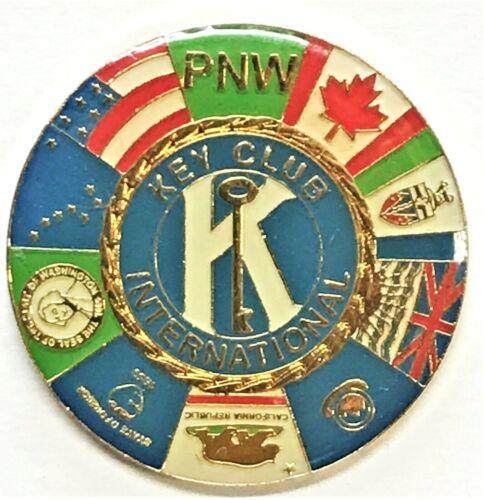 Vtg Pin Key Club International PNW Division Pin CA OR WA ID AK US BC Yukon Can