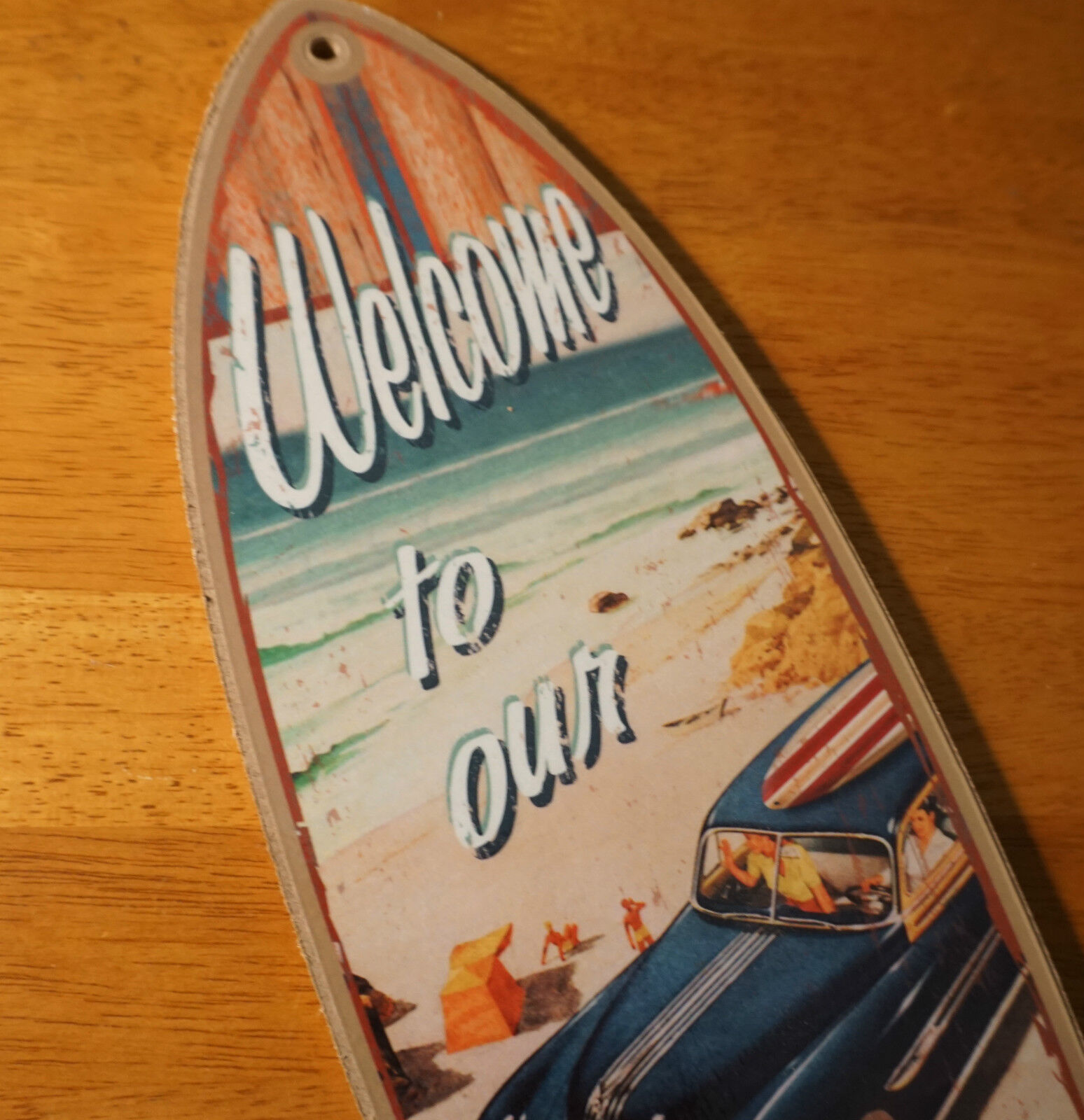 Welcome To Our Beach House Sign: WOODY WAGON Rustic Surfboard Sign