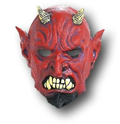 DELUXE RED DEVIL SATAN HORNED HALLOWEEN FULL HEAD LATEX MASK - Halloween Full
