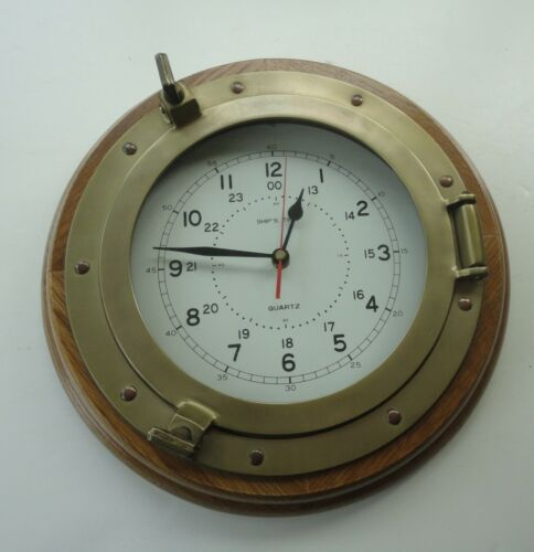 "Vtg 13"" Oak Brass Ship Time Porthole Clock Tochigi Tokei Japan Movement"