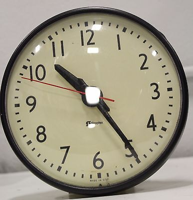 """Vintage Simplex 804-100 A 9"""" Commercial School Electric Round Wall Clock"""