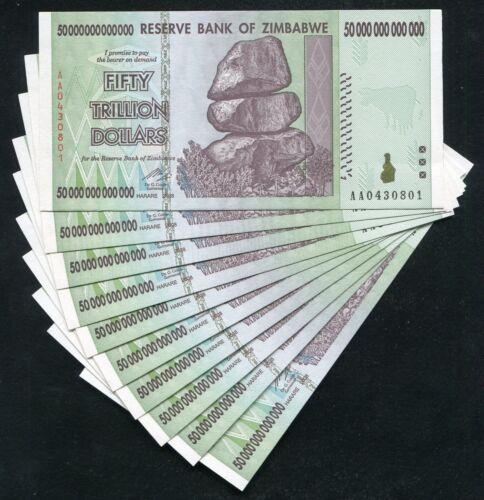 10 CONSECUTIVE 2008 50 TRILLION DOLLARS ZIMBABWE, AA P90 UNC 100 TRILLION SERIES