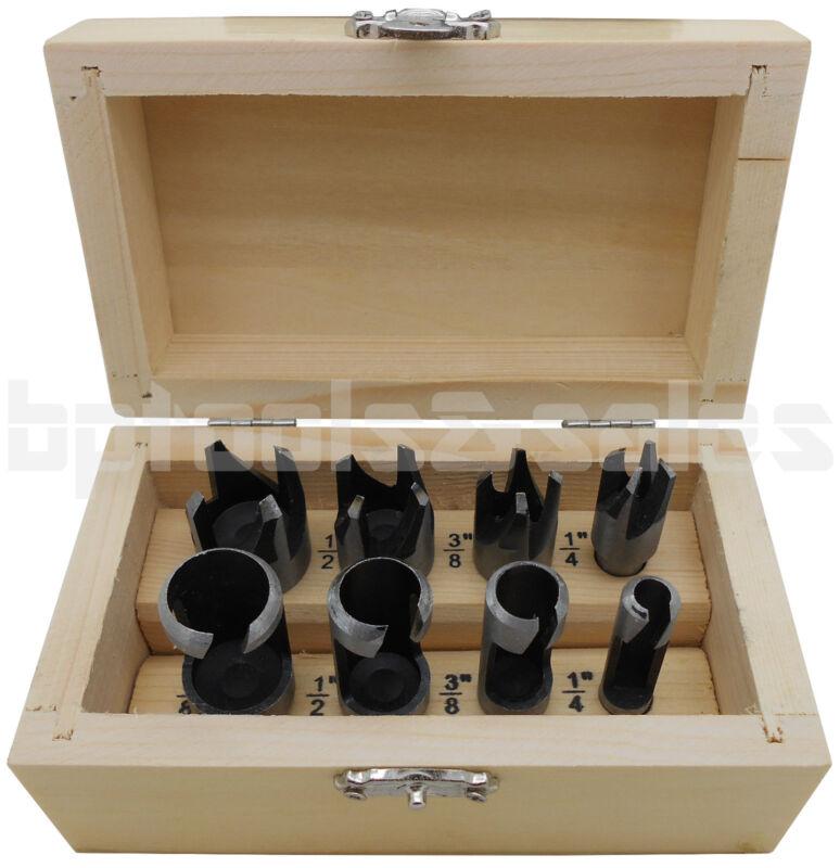 8pc Plug & Chamfer Wood Cutter Tool Set Straight & Tapered Taper Drill Bit Set