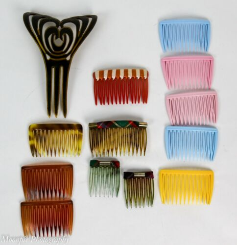 Vintage Lot 12+ Hair Comb Clips Hair Accessories 1950s Up