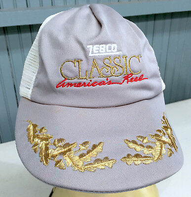 8abb8379691744 Zebco Classic American Lure Fishing Snapback Baseball Cap Hat VTG Scrambled  Eggs