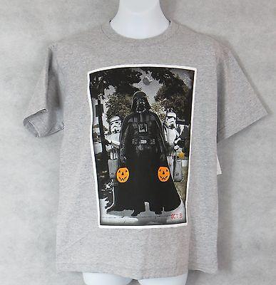 Star Wars Boys T-Shirt New Gray Darth Vader Storm Trooper Halloween Pumpkin