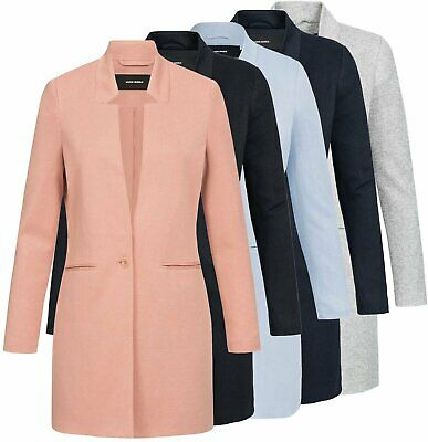 Stoff Blazer (Vero Moda Damen Jacke Damenjacke Longblazer Blazer Cardigan Stoffmantel June)