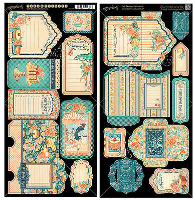 Graphic45 CAFE PARISIAN TAGS & POCKETS DIE-CUTS scrapbooking