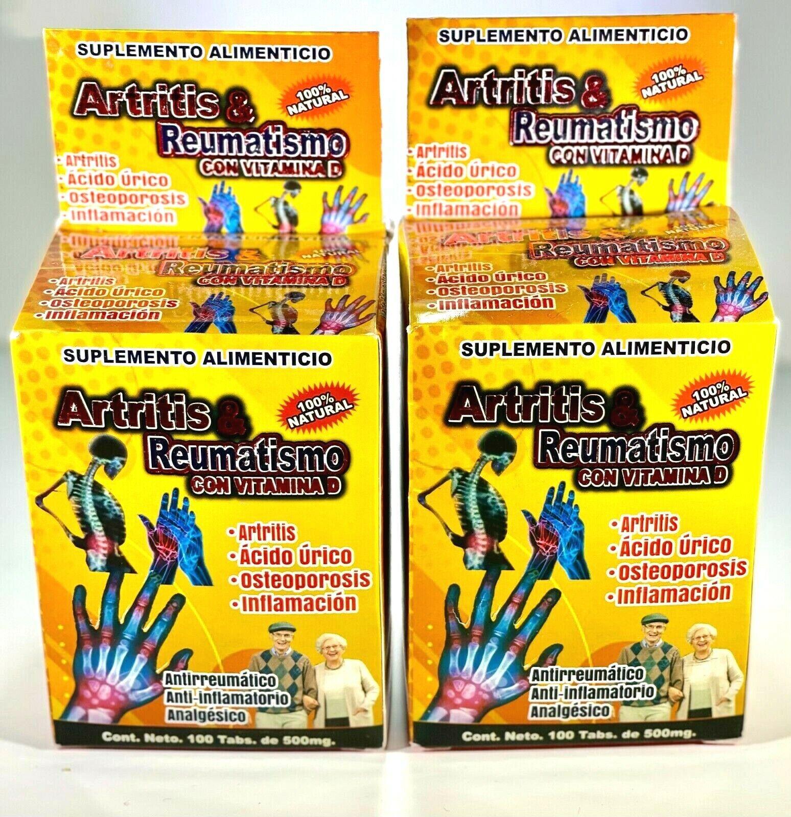 Artritis & Reumatismo con Vitamina D Suplemento Alimenticio  2 Cajas de100 Tabls