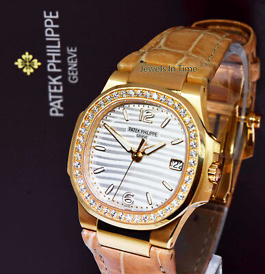 Patek Philippe Ladies Nautilus 18k Rose Gold & Diamond Watch NEW 2018 7010R