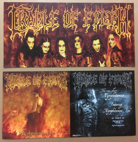 CRADLE OF FILTH Rare 2004 DOUBLE SIDED PROMO POSTER FLAT for Nymphetamine CD