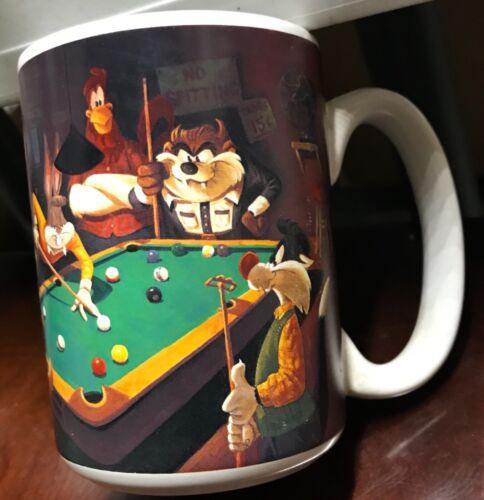 Looney Tunes WB Studio Store Vtg Mug 1994 Pool Hall Billiards Bugs Bunny Taz Sam