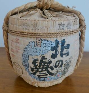 Japanese Tatami Covered Sake Barrel
