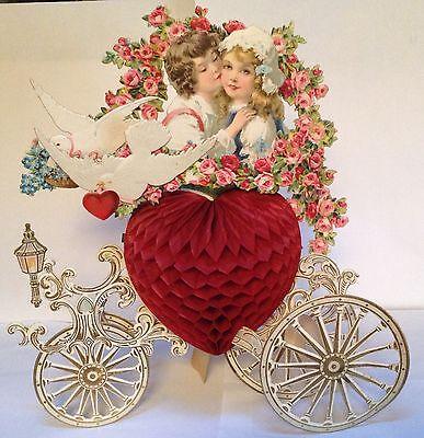 Antique VTG Elaborate Large Honeycomb Pop Out Carriage Die Cut German Valentine