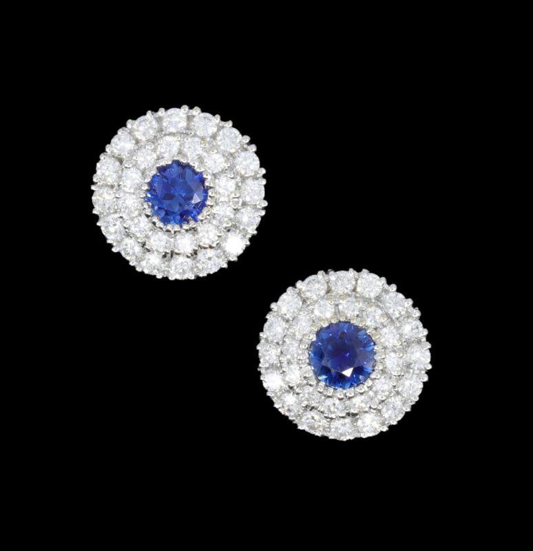 Fabulous 18K Natural Ceylon Blue Sapphire and Diamond 1.25 Carat Estate Earrings