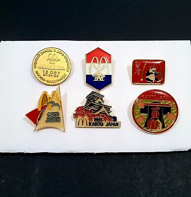 Vintage McDonalds Pins Four Different Countries Russia Holland China Japan RARE