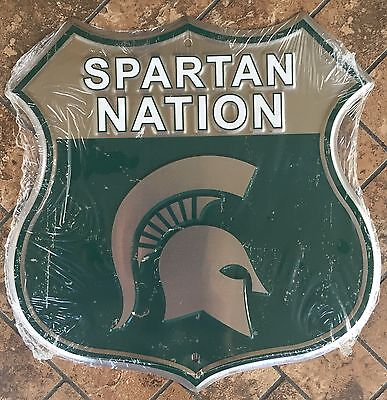 Michigan State University 12  X 12  Shield Spartan Nation Metal Sign Spartans