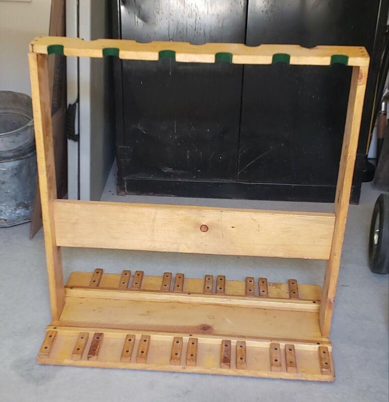 Vintage Wooden Gun Rifle Floor Stand / Rack for 11 Guns