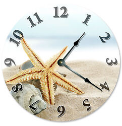 SANDY BEACH WITH STARFISH SHELLS CLOCK Large 10.5 inch Round Wall Clock 2108