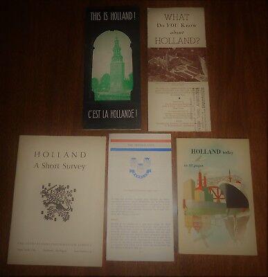 5 Vintage Travel Brochures - Holland Netherlands - Short Survey Benelux +