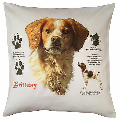 Brittany Spaniel History Breed of Dog Cotton Cushion Cover - Perfect Gift